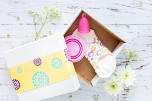 cloth pad and pink moon cup in a box