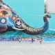 elephant graffiti wall art at basketball court