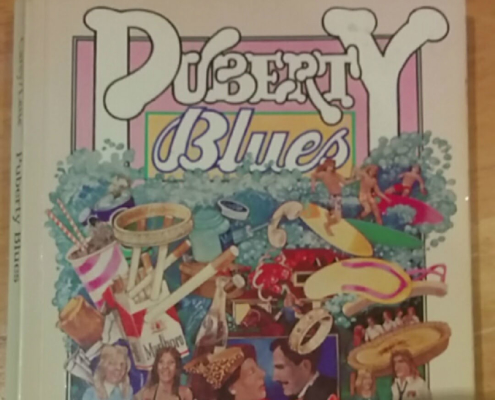 "Top half of book cover with title ""Puberty Blues"""