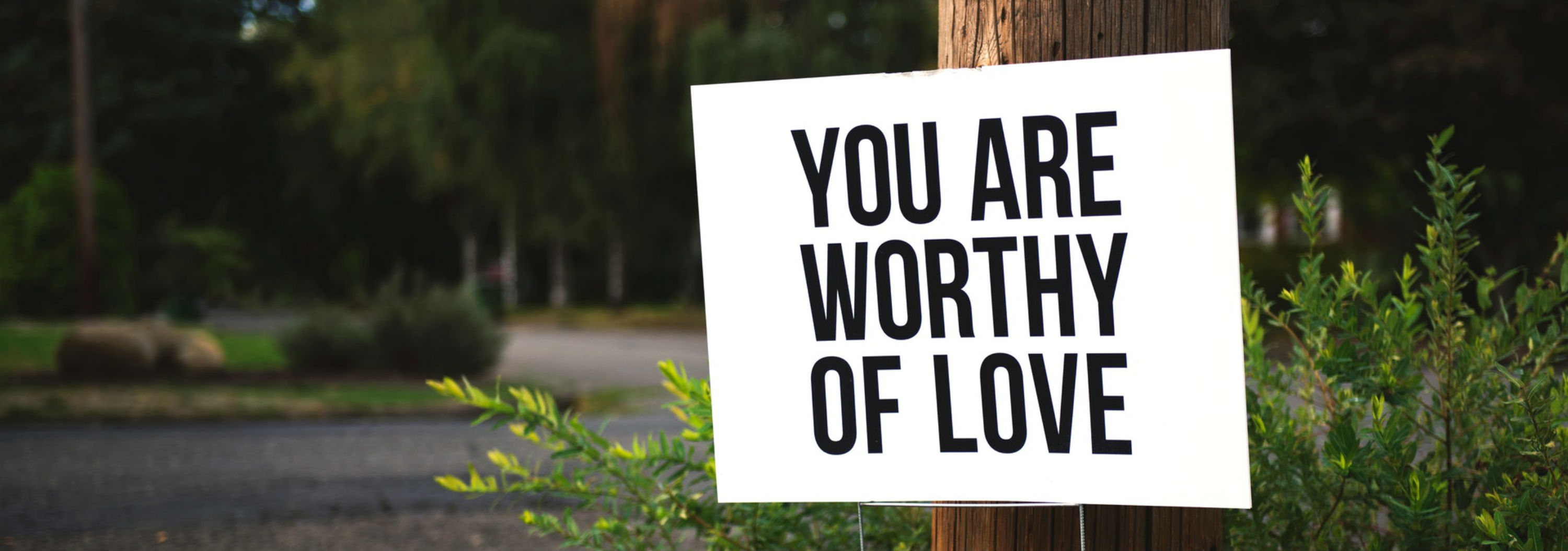 """Roadside sign reads """"you are worthy of love"""""""