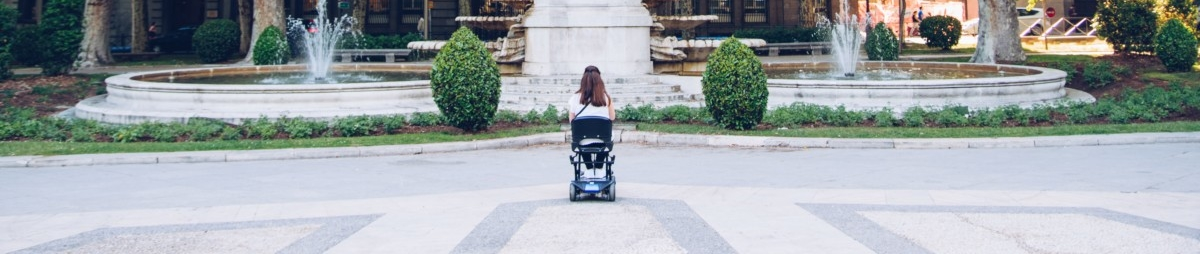 woman in wheelchair in front of monument